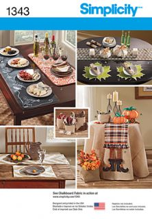 1343 Simplicity Pattern: Autumn Table Accessories